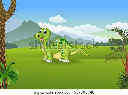 Cartoon cute dinosaur posing with the prehistoric background