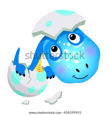 Cartoon cute dinosaur. Vector illustration on a white background, isolated