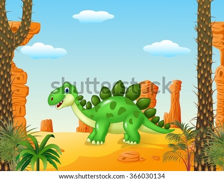 Cartoon cute dinosaur with the desert background