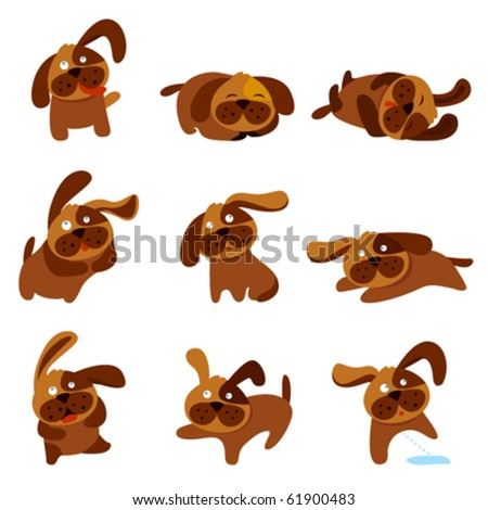 cartoon cute dogs - stock vector