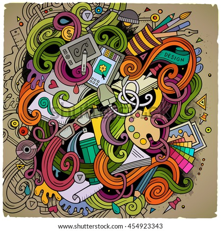 Cartoon Cute Doodles Hand Drawn Design Illustration Colorful Detailed With Lots Of Objects Background