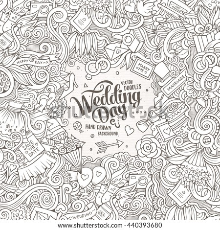 Cartoon cute doodles hand drawn wedding illustration. Line art detailed, with lots of objects background. Funny vector artwork. Sketch picture with marriage theme items. Square composition - stock vector