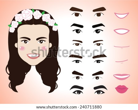 cartoon cute girl character pack facial emotions design elements isolated vector illustration - stock vector