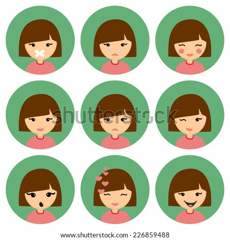 Cartoon Cute Girl with Different Emotion: Silent, Crying, Cheerful, Confused, Sad, Winking, Suprised, Laughing. Set of Vector Icons. - stock vector