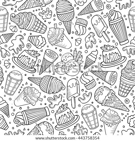Cartoon cute hand drawn ice cream seamless pattern. Line art detailed, with lots of objects background. Endless sketchy funny vector illustration.