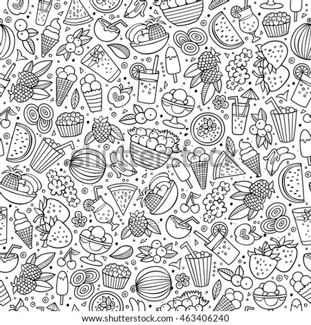 Cartoon cute hand drawn summertime seamless pattern. Sketch detailed, with lots of objects background. Endless funny vector illustration. Line art backdrop with summer food items.