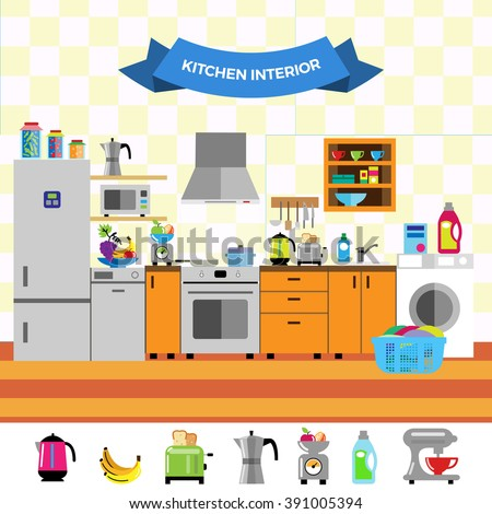 Cartoon cute kitchen interior. Flat design style. Household appliances, fridge, oven, stove, dishwasher, washing machine, cupboards, cabinets, dishes, utensils. Vector illustration. - stock vector