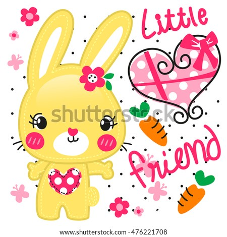 Cartoon cute little rabbit girl with heart shaped gift box illustration vector.
