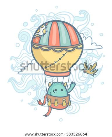 Cartoon cute monster flying  in a hot air balloon - stock vector