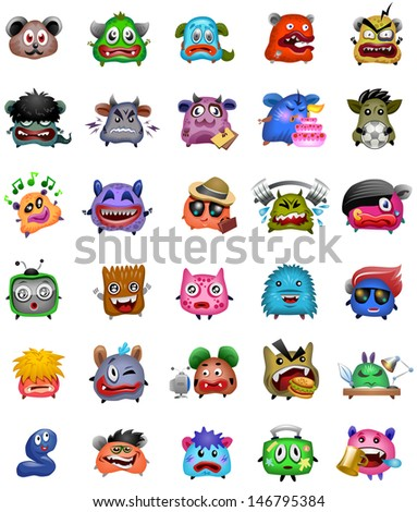 Cartoon cute monsters. Eps 10 - stock vector