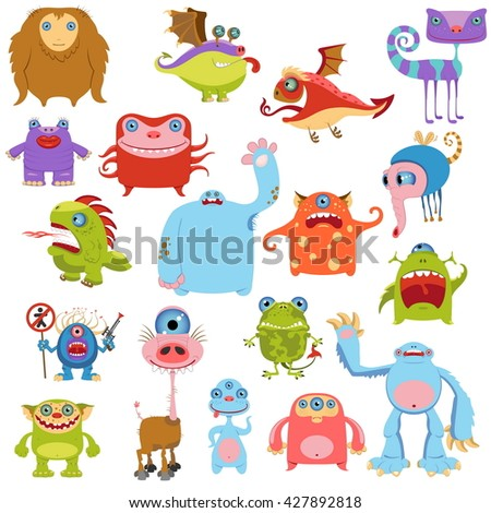 Cartoon Cute Monsters Set. Vector Illustration
