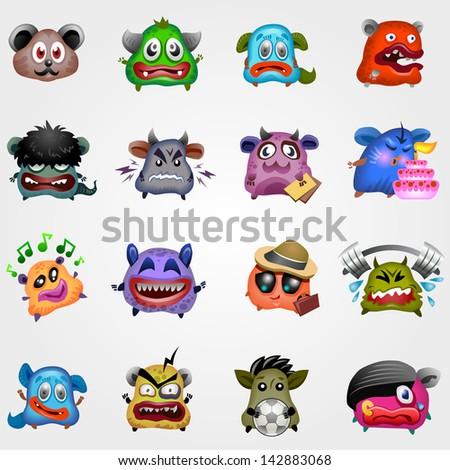 Cartoon cute monsters. Vector eps 10. - stock vector