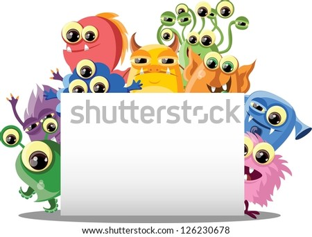 Cartoon cute monsters with banners - stock vector