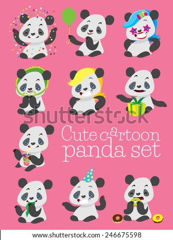 cartoon cute panda birthday vector set with different happy emotions - stock vector