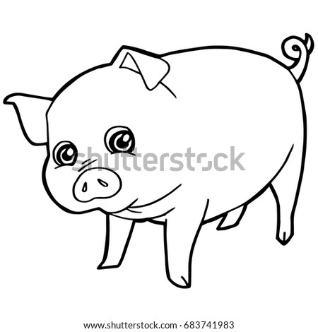 cartoon cute pig coloring page vector illustration