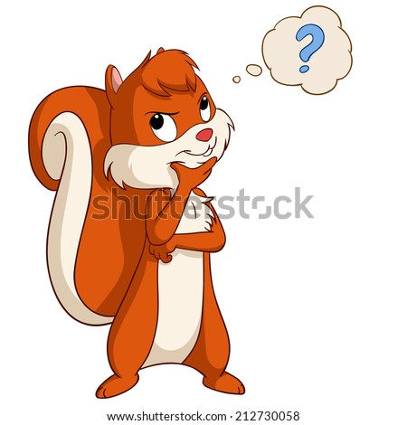 Cartoon cute squirrel thinking with question bubble. Vector illustration. - stock vector