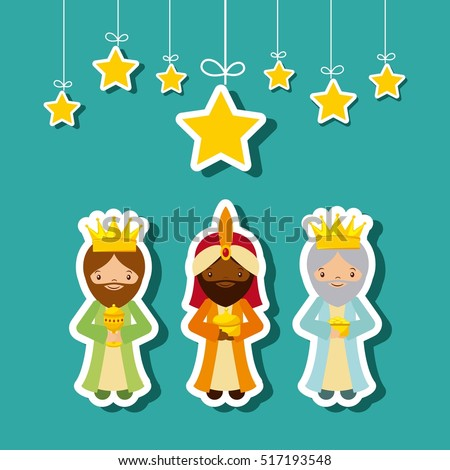 cartoon cute Three Wise Men with decorative stars hanging over blue background. colorful design. vector illustration