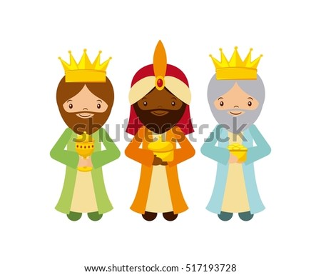 cartoon cute Three Wise Men with over white background. colorful design. vector illustration
