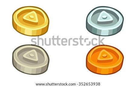 Cartoon 3d coins set - stock vector
