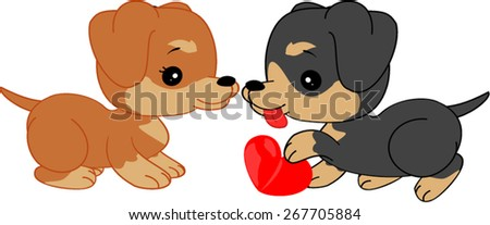 Cartoon dachshunds with heart - stock vector