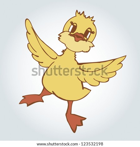 cartoon dancing duck  vector illustration - stock vector