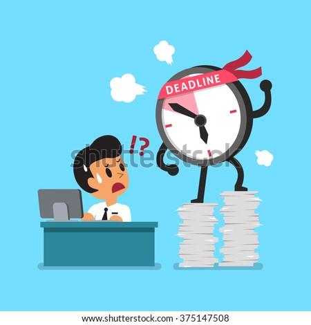 Cartoon deadline clock character and businessman - stock vector