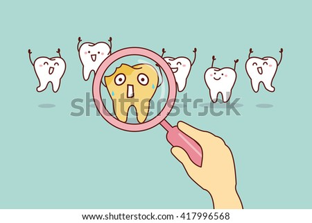 cartoon decay tooth with magnifying glass, great for health dental care concept - stock vector