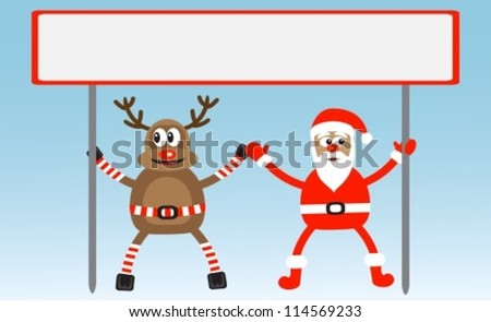 cartoon deer and Santa-Claus hold poster
