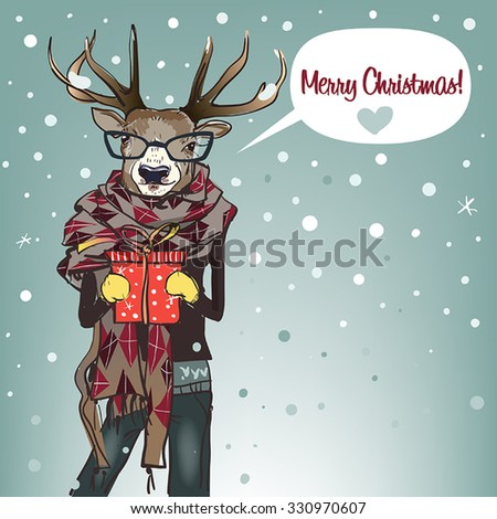 cartoon deer with scarf and present box - Christmas card