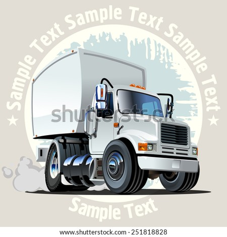 Cartoon delivery truck on grunge background. Available EPS-10 vector format separated by groups and layers with transparency effects for one-click repaint.
