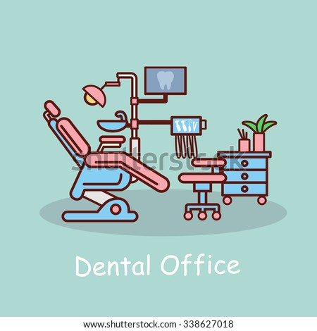 cartoon dental office, great for your design - stock vector