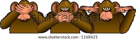 Cartoon depicting the THREE WISE MONKEYS - stock vector