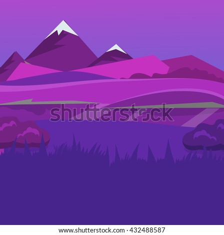 cartoon desert landscape, vector background with desert, herbs, mountains and sky