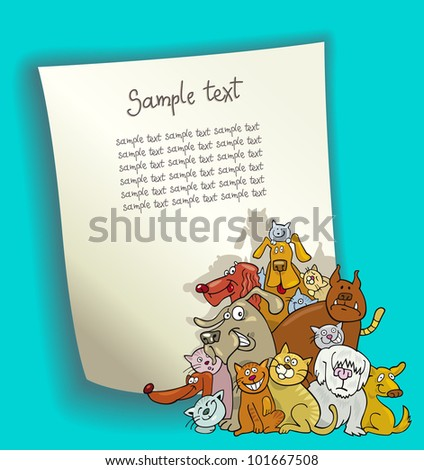 cartoon design illustration with blank page and group of cats and dogs - stock vector