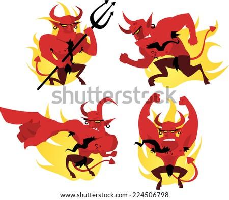 Cartoon devil action set - stock vector