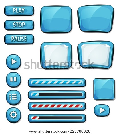 Cartoon Diamonds Elements For Ui Game/ Illustration of a set of various cartoon design ui diamonds or gems glossy elements including banners, signs, buttons, load bar and app icon for tablet pc - stock vector