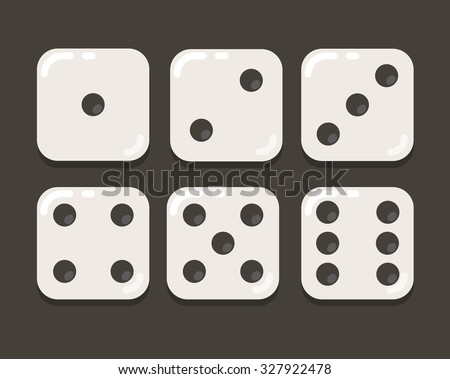 Cartoon dice, modern flat vector illustration, all six sides. - stock vector