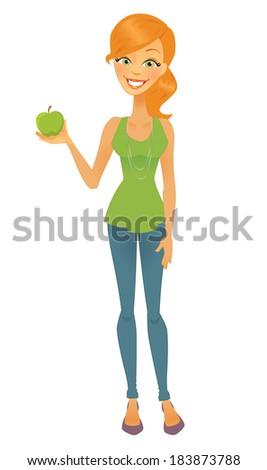 Cartoon Diet Woman with Apple - stock vector
