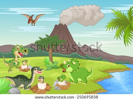 Cartoon dinosaur nesting ground - stock vector