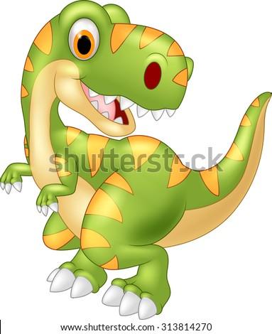 Cartoon dinosaur tyrannosaurus looks sideways - stock vector