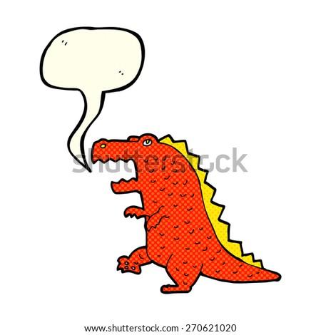 cartoon dinosaur with speech bubble - stock vector