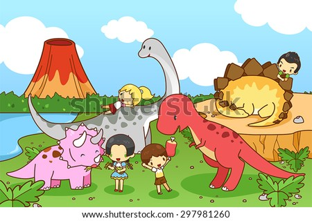 Cartoon dinosaur world of imagination with kids and children playing and feeding Tyrannosaur, Stegosaurus, Triceratops, and Brontosaurus, friendly in natural prehistoric world, create by vector  - stock vector