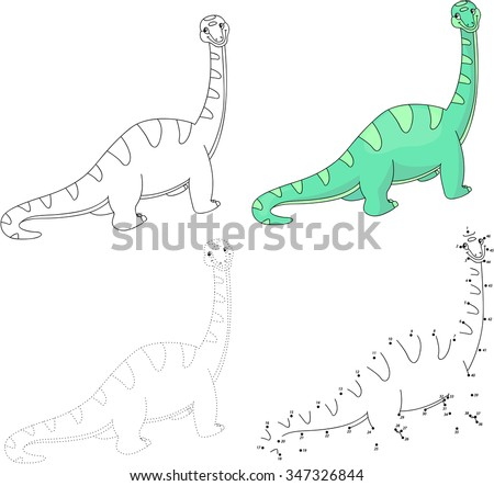 Cartoon diplodocus. Dot to dot educational game for kids. Vector illustration - stock vector