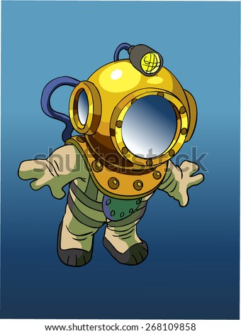 Cartoon Diver in old diving suit