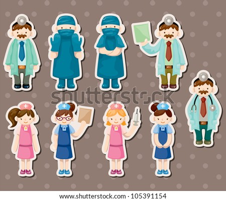 cartoon doctor and nurse stickers - stock vector