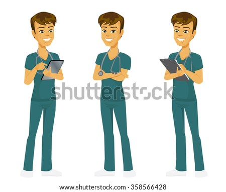Cartoon doctor in three full body standing poses: holding clipboard, using digital tablet and arms crossed. - stock vector