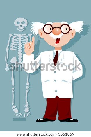 Cartoon doctor with white hair, eyeglasses,lab coat and skeleton.