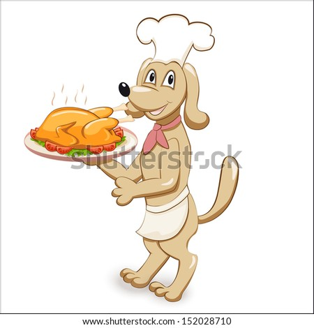 cartoon dog chef with chicken - eps10