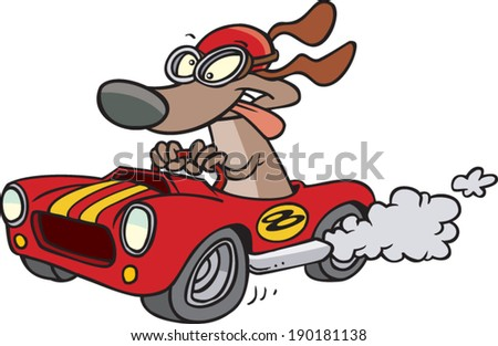 Cartoons Driving Cars Cartoon Dog Driving a Hot Rod