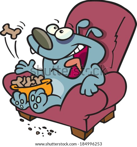 cartoon dog eating biscuits on the couch